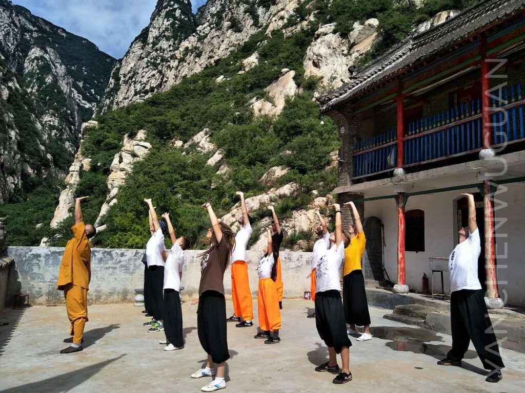 a group of foreigners practice qigong with a master. eight pieces of brocade