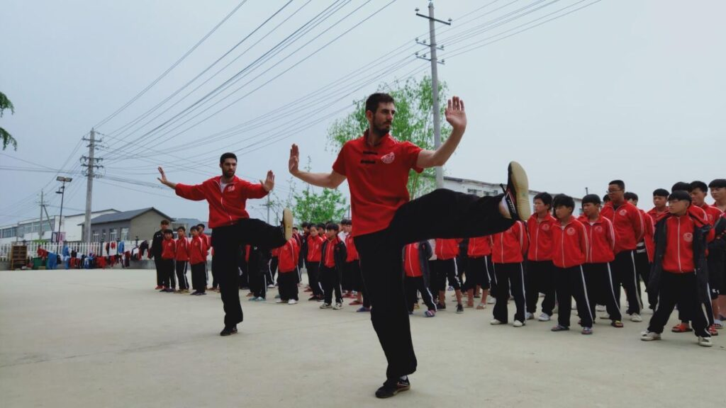 students from france taking the Shaolin kung fu exam in china