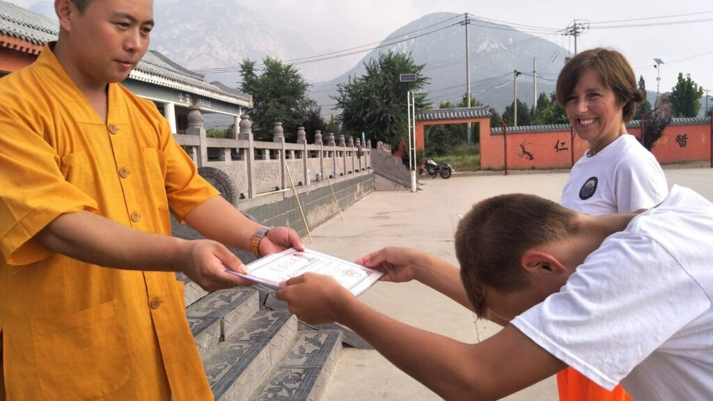the process of obtaining a certificate at a kung fu school in china